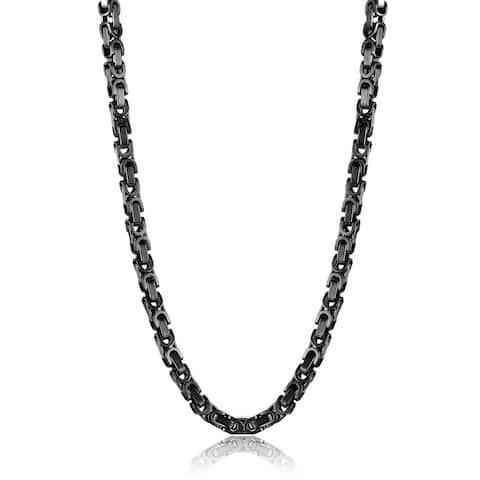 Crucible Black Plated Stainless Steel Byzantine Chain Necklace 24 Inches - 24 inches
