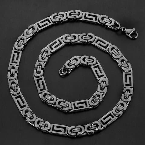 Crucible Stainless Steel Greek Key Flat Byzantine Chain Necklace - 22 Inches