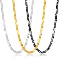 Crucible Men's Polished Stainless Steel Greek Key Flat Byzantine Chain Necklace - 22 Inches (8mm Wide)