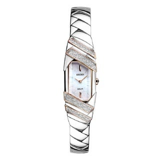 Seiko Women's SUP332 Stainless Steel and Diamond Solar Watch with a Mother of Pearl Dial