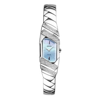 Seiko Women's SUP331 Stainless Steel and Diamond Solar Watch with a Mother of Pearl Dial
