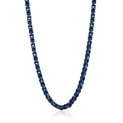 Crucible Men's Two Tone Polished Stainless Steel Byzantine Chain Necklace - 24 Inches (8mm Wide)
