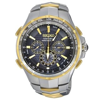 Seiko Men's SSG010 Stainless Steel Radio Controlled World Time Teo Tone Chronograph Watch