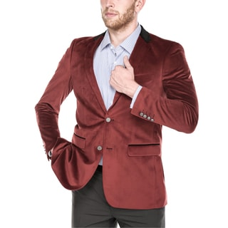 Beverly Hills Polo Club Men's Burgundy Velvet Slim-fit Blazer with Contrasting Collar and Metal Buttons