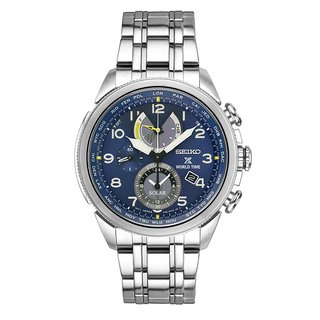 Seiko Men's SSC507 Prospex Silver Tone Stainless Steel World Time Solar Chronograph Watch.