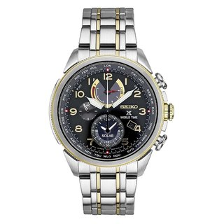 Seiko Men's SSC508 Prospex Two Tone Stainless Steel World Time Solar Chronograph Watch.