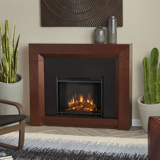 Real Flame Colton Dark Walnut Finish 48.25 in. L x 11.125 in. D x 40 in. H Electric Fireplace