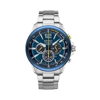 Seiko Men's SSC505 Stainless Steel Special Edition Chronograph Watch. Jimmie Johnson Gift Set