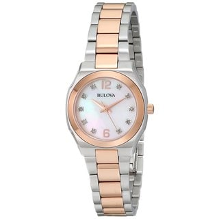 Bulova Women's 98P143 Two Tone Stainless Steel and Diamond Watch with Rose Accents