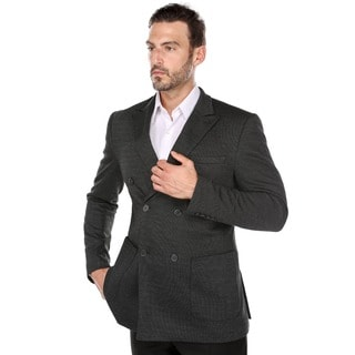 Zenbriele Men's Black Double-breasted Nailshead Peak Lapel Blazer