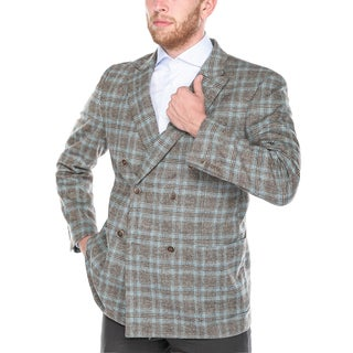 Steve Harvey Men's Brown and Blue Plaid Double Breasted Peak Lapel Classic Fit Blazer
