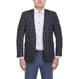 Beverly Hills Polo Club Men's Navy Wool Chalkstripe Windowpane Slim-fit Blazer