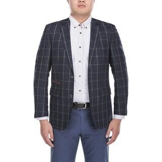 Zenbriele Men's Navy Wool Chalkstripe Windowpane Slim-fit Blazer