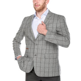 Zenbriele Men's Grey Chalkstripe Windowpane Wool Slim-fit Blazer