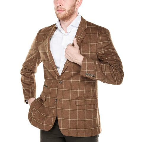 Zenbriele Men's Brown Windowpane Plaid Classic Fit Blazer