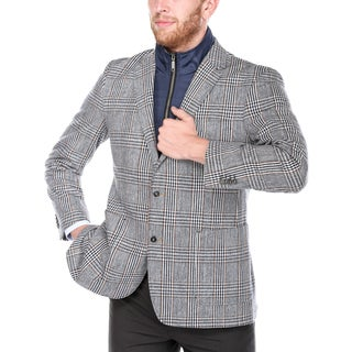 Steve Harvey Men's Navy and Brown Plaid Wool-blend/Polyester 2-button Blazer with Removable Bib