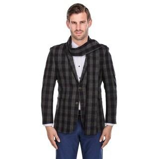 Zenbriele Men's Grey Wool-blend Slim-fit Plaid Blazer and Matching Scarf
