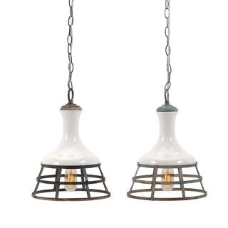 Sandra Ceramic and Metal Pendant Lights - Ast 2