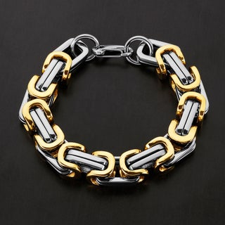 Crucible Stainless Steel Byzantine Bracelet (17mm Wide) - 11.5 inches (Option: two tone)