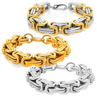 Crucible Men's Polished Stainless Steel Byzantine Chain Bracelet - 11.5 inches (17mm Wide)