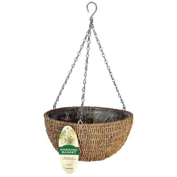 """Gardman R490 14"""" Woven Rope Hanging Basket"""