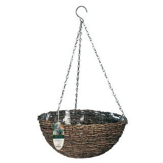 """Gardman R450 14"""" Natural Rattan Hanging Baskets"""