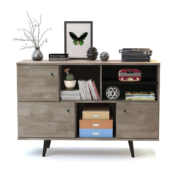 Barcelona mid century 3 cabinet buffet for Furniture of america gelenan industrial cement like multi storage buffet