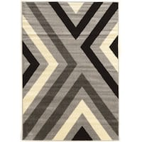 "Power Loomed Claremont X's Black/Grey Polypropylene Rug (1'10"" X 2'10"")"