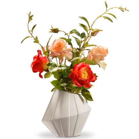 National Tree Company 22-inch Potted Artificial Red and Pink Roses