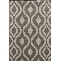"Power Loomed Claremont Drops Grey Polypropylene Rug (1'10"" X 2'10"")"