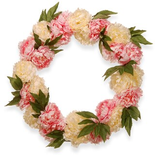 National Tree Company Pink and White 24-inch Faux Peony Wreath