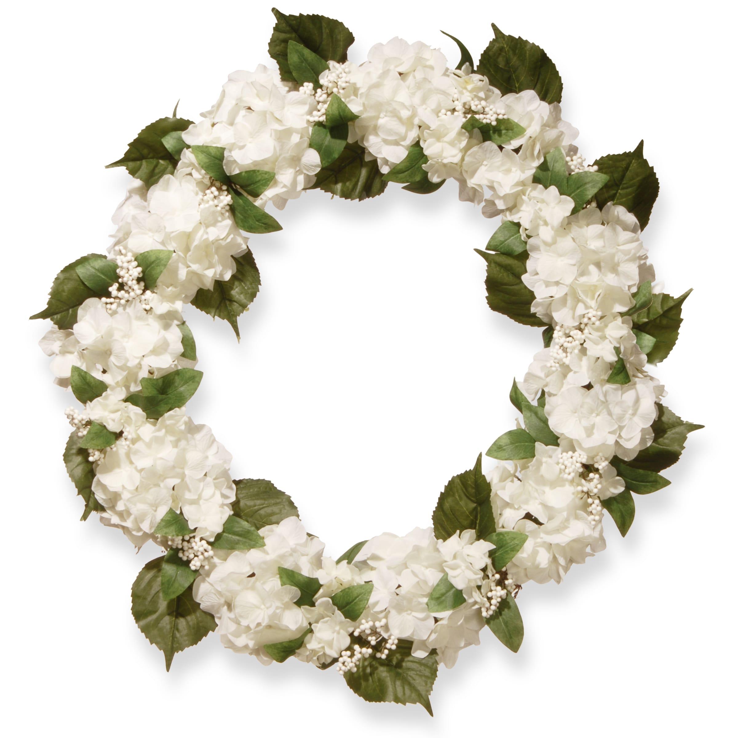 National Tree Company 32-inch Cream Hydrangea Wreath (CREAM)