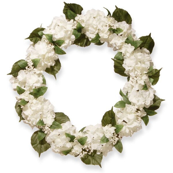 National Tree Company 32-inch Cream Hydrangea Wreath