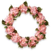 National Tree Company Pink Hydrangea 32-inch Wreath