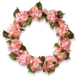 National Tree Company Pink Hydrangea 32-inch Wreath (Option: Pink)