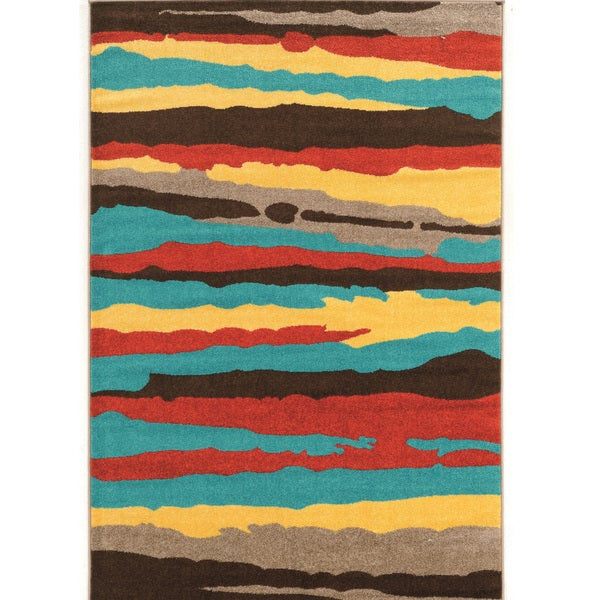 "Power Loomed Claremont Larva 2 Terra/Turquoise Polypropylene Rug (1'10"" X 2'10"")"