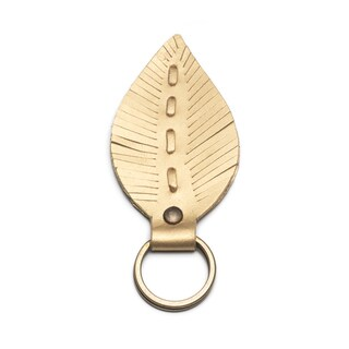 Leather Leaf Key Ring - Gold