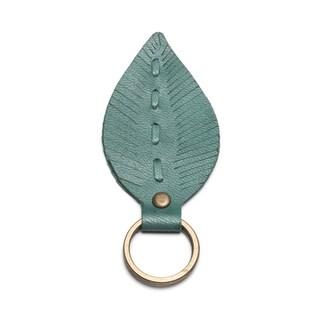Leather Leaf Key Ring - Teal
