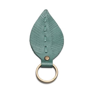 Leather Leaf Key Ring - Teal