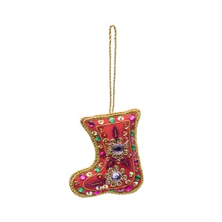 Embellished Stocking Ornament - Red