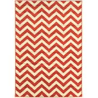 "Power Loomed Claremont Chevron Terracotta Polypropylene Rug (1'10"" X 2'10"")"