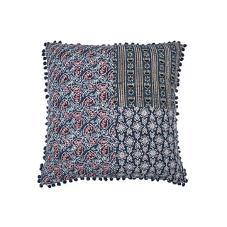 Square Patchwork Block Print Pillow - Blue