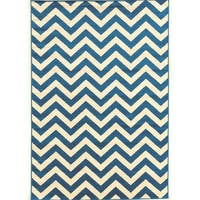 "Power Loomed Claremont Chevron Blue Polypropylene Rug (1'10"" X 2'10"")"