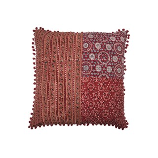 Square Patchwork Block Print Pillow- Red