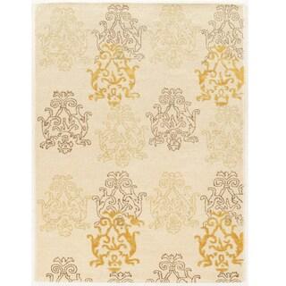 Hand Tufted Aspire Damask Cream/Gold Wool Rug (8' x 11')