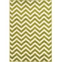 "Power Loomed Claremont Chevron Green Polypropylene Rug (1'10"" X 2'10"")"