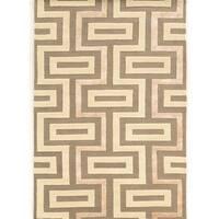 Hand Tufted Aspire Maze Ivory /Grey  Wool Rug (8' x 11')