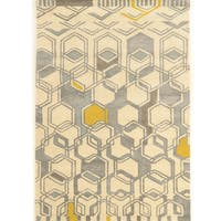 Hand Tufted Aspire Geo Ivory/Grey Wool Rug (8' x 11')