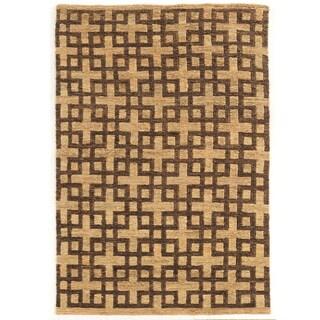 Woven Soumak Beige/Brown Hemp Rug (8' x 11')