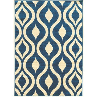 Power Loomed Claremont Drops Blue/Cream Polypropylene Rug (8' X 10')